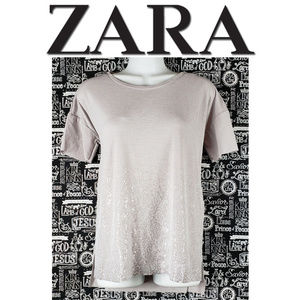 ZARA Gray Pullover Embellished Shirt Size Small